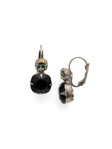 Roundabout Earring in Antique Silver-tone Black Onyx