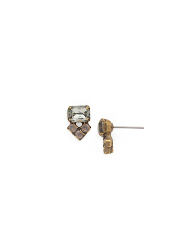 Pretty Points Earring in Antique Gold-tone Crystal Rock