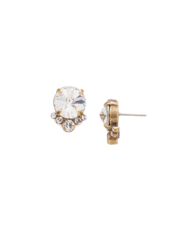 Regal Rounds Earring in Antique Gold-tone Crystal