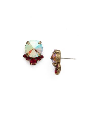Regal Rounds Earring in Antique Gold-tone Go Garnet