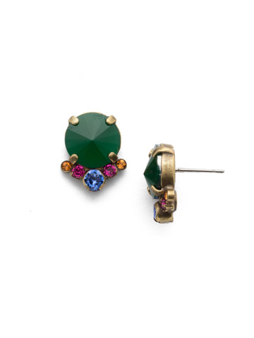 Regal Rounds Earring in Antique Gold-tone Game of Jewel Tones