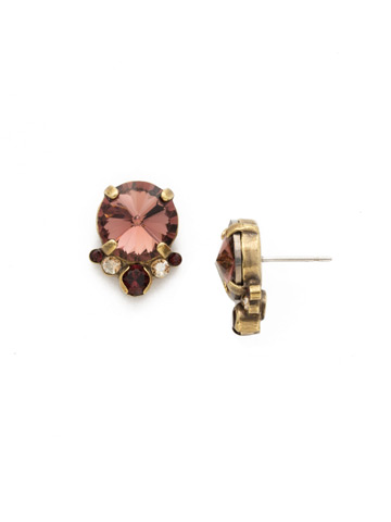 Regal Rounds Earring in Antique Gold-tone Mighty Maroon