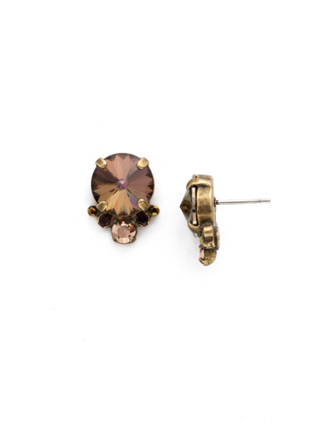Regal Rounds Earring in Antique Gold-tone Mahogany