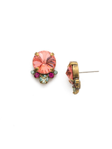 Regal Rounds Earring in Antique Gold-tone Radiant Sunrise