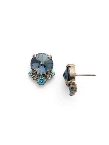 Regal Rounds Earring in Antique Silver-tone Blue Suede