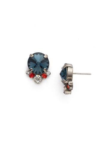 Regal Rounds Earring in Antique Silver-tone Battle Blue