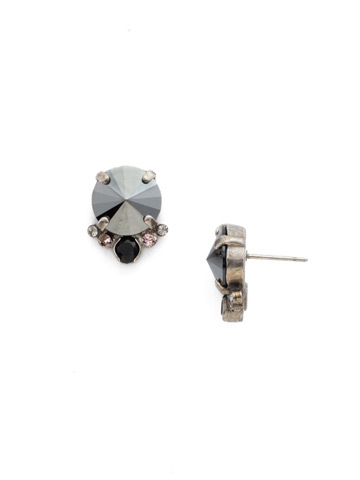 Regal Rounds Earring in Antique Silver-tone Crystal Noir