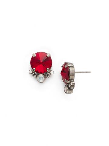Regal Rounds Earring in Antique Silver-tone Crimson Pride