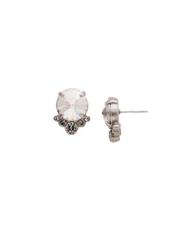 Regal Rounds Earring in Antique Silver-tone Crystal Rock