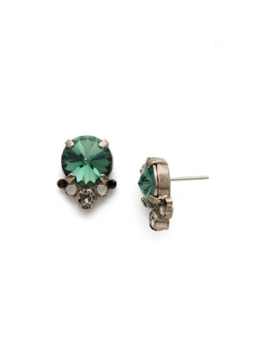 Regal Rounds Earring in Antique Silver-tone Game Day Green