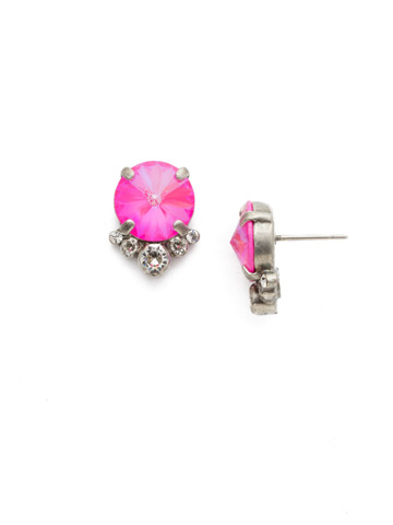 Regal Rounds Earring in Antique Silver-tone Pink Mutiny