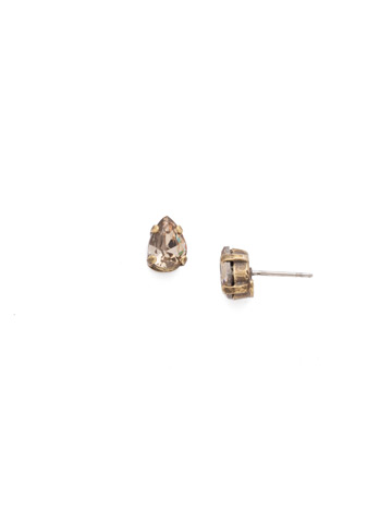 Embellished Mini Pear Cut Post Earrings in Antique Gold-tone Neutral Territory