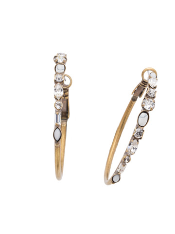 Shine On Hoop Earring in Antique Gold-tone Crystal