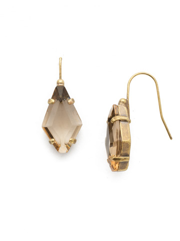 Diamond Drop Earring in Antique Gold-tone Neutral Territory