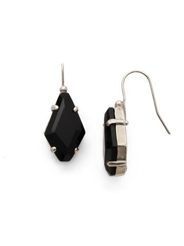 Diamond Drop Earring in Antique Silver-tone Black Onyx