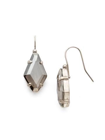 Diamond Drop Earring in Antique Silver-tone Crystal Rock