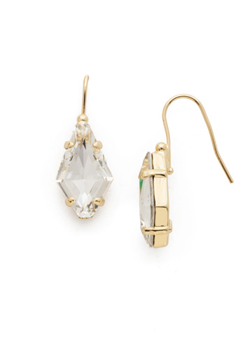 Diamond Drop Earring in Bright Gold-tone Crystal
