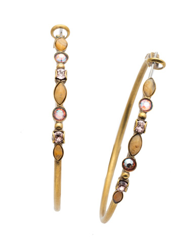 Large Mixed Media Hoop Earring in Antique Gold-tone Beach Comber