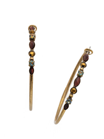 Large Mixed Media Hoop Earring in Antique Gold-tone Mahogany