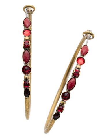 Large Mixed Media Hoop Earring in Antique Gold-tone Sansa Red