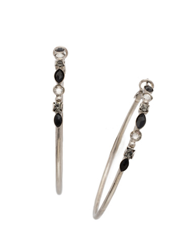 Large Mixed Media Hoop Earring in Antique Silver-tone Black Onyx