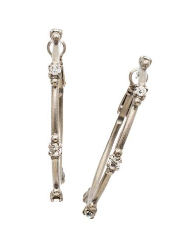 Circlet Hoop Earrings in Antique Silver-tone Crystal