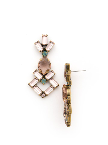 Artisanal Statement Earring in Antique Gold-tone Apricot Agate