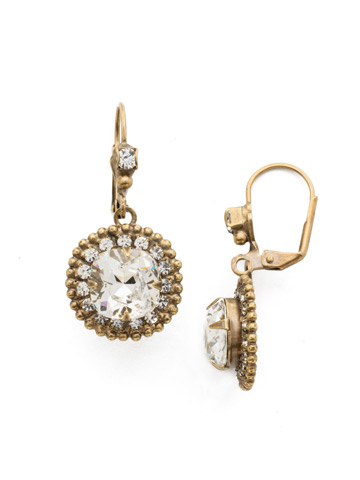 Cushion Cut Crown Earring in Antique Gold-tone Crystal