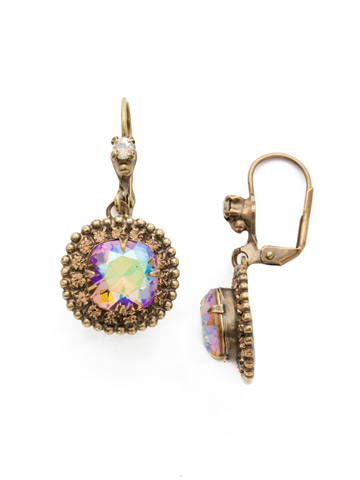 Cushion Cut Crown Earring in Antique Gold-tone Neutral Territory