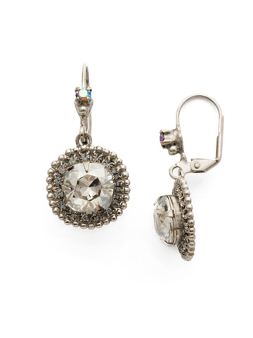 Cushion Cut Crown Earring in Antique Silver-tone Crystal Rock