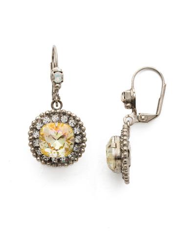 Cushion Cut Crown Earring in Antique Silver-tone Lemon Zest