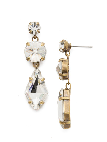 Rhombus Roundabout Earring in Antique Gold-tone Crystal