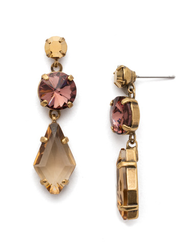 Rhombus Roundabout Earring in Antique Gold-tone Mighty Maroon