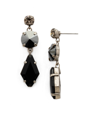 Rhombus Roundabout Earring in Antique Silver-tone Black Onyx