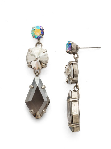 Rhombus Roundabout Earring in Antique Silver-tone Crystal Rock