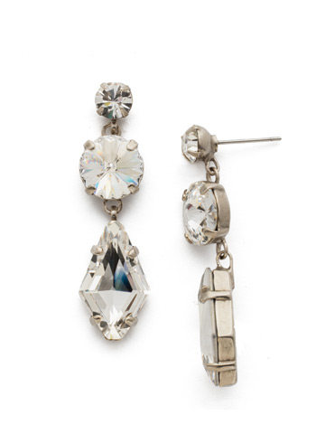 Rhombus Roundabout Earring in Antique Silver-tone Crystal