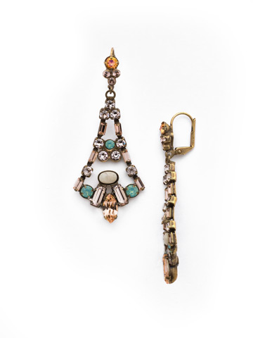 Ornate Eiffel Statement Earring in Antique Gold-tone Apricot Agate