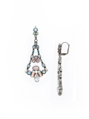 Ornate Eiffel Statement Earring in Antique Silver-tone Rainbow Quartz
