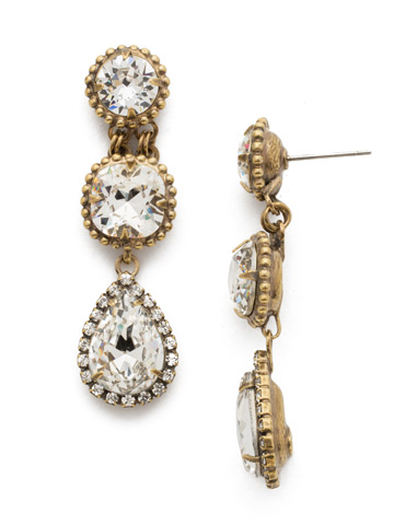 Raindrop Earring in Antique Gold-tone Crystal