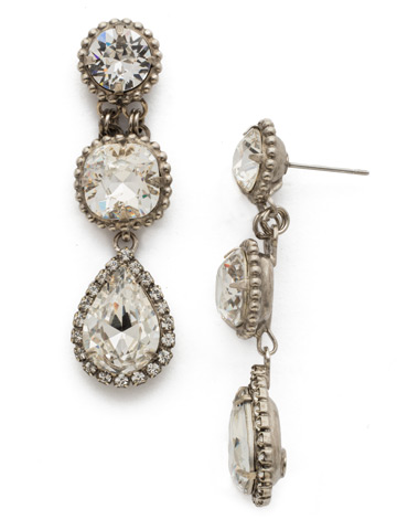 Raindrop Earring in Antique Silver-tone Crystal