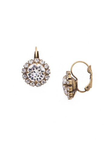 Haute Halo French Wire Earring in Antique Gold-tone Crystal