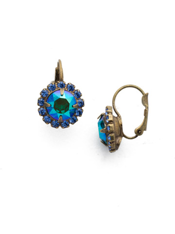 Haute Halo French Wire Earring in Antique Gold-tone Game of Jewel Tones
