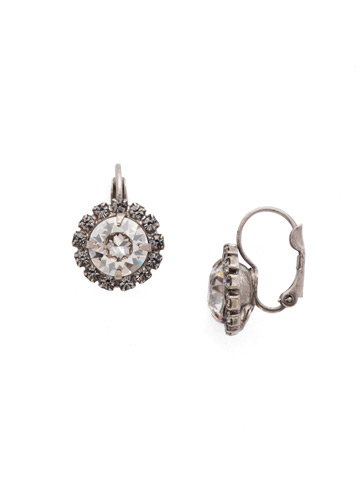 Haute Halo French Wire Earring in Antique Silver-tone Crystal Rock