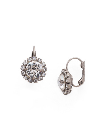 Haute Halo French Wire Earring in Antique Silver-tone Crystal