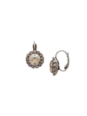 Haute Halo French Wire Earring in Antique Silver-tone Satin Blush
