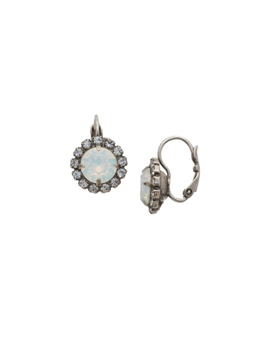 Haute Halo French Wire Earring in Antique Silver-tone White Bridal