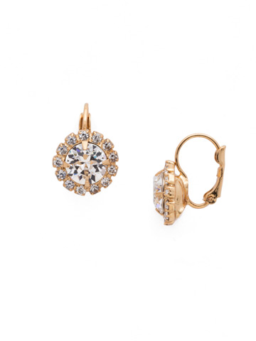 Haute Halo French Wire Earring in Bright Gold-tone Crystal