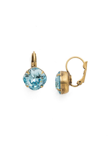 Cushion Cut French Wire Earrings in Antique Gold-tone Aquamarine