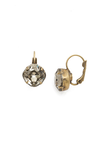 Cushion Cut French Wire Earrings in Antique Gold-tone Black Diamond