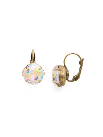 Cushion Cut French Wire Earrings in Antique Gold-tone Crystal Aurora Borealis
